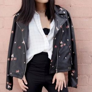 Who What Wear Jackets & Coats - Floral Printed Moto Jacket
